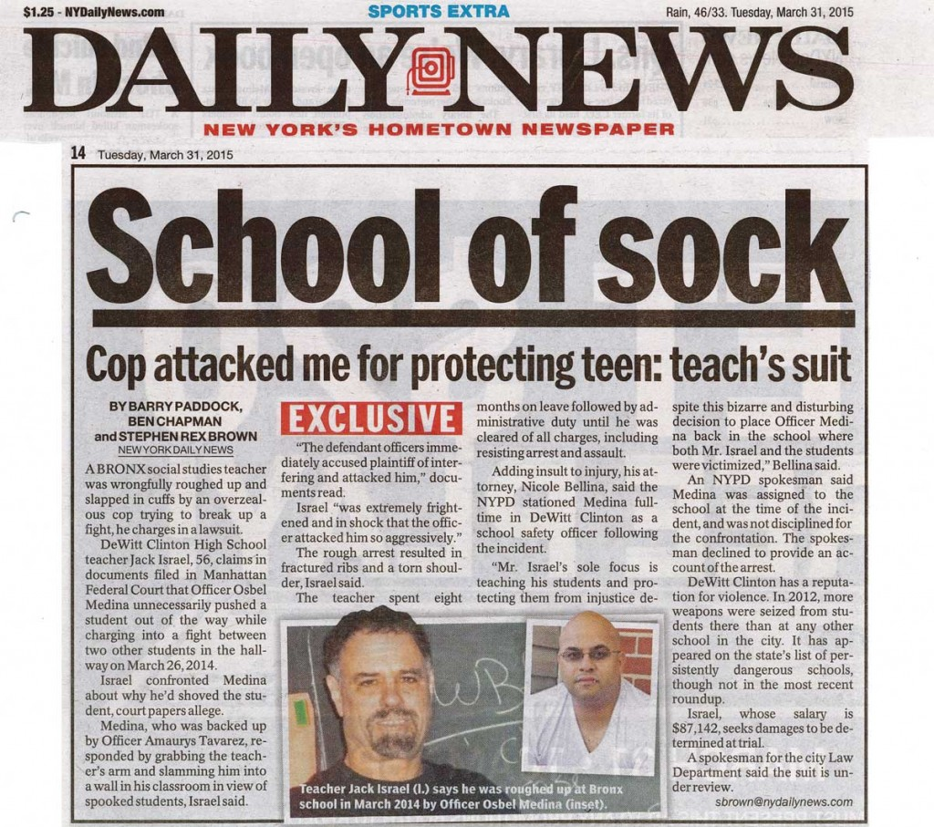 Newspaper Article of Alleged NYPD Assault